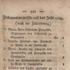 """Pränumerantenliste auf das Jahr 1785 des """"Damenjournal zum Besten des Roseninstituts"""", Halle 1785."""