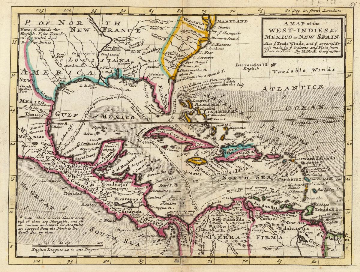 Karte von Hermann Moll, Anfang des 18. Jahrhunderts