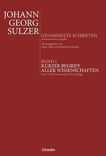 Johann Georg Sulzer: Kurzer Begriff aller Wissenschaften